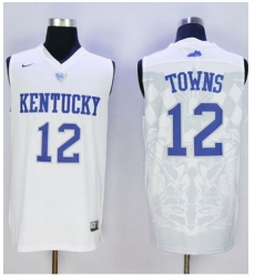 Wildcats #12 Karl Anthony Towns White Basketball Stitched NCAA Jersey