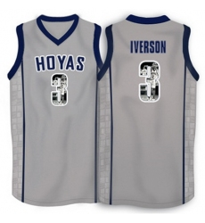 Georgetown Hoyas 3 Allen Iverson Gray 1996 Throwback With Portrait Print College Basketball Jersey