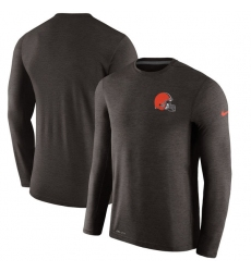 Men Cleveland Browns Nike Brown Coaches Long Sleeve Performance T Shirt