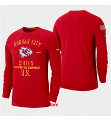 Men Chiefs Red 2019 Salute to Service Sideline Long Sleeve T Shirt