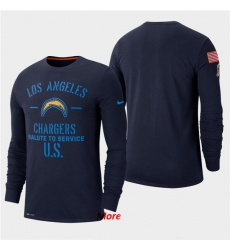 Men Chargers Navy 2019 Salute to Service Sideline Long Sleeve T Shirt