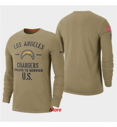 Men Chargers Tan 2019 Salute to Service Sideline Long Sleeve T Shirt