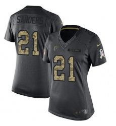 Nike Falcons #21 Deion Sanders Black Womens Stitched NFL Limited 2016 Salute to Service Jersey