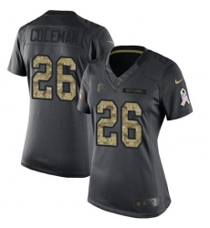 Nike Falcons #26 Tevin Coleman Black Womens Stitched NFL Limited 2016 Salute to Service Jersey
