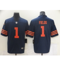 Men Nike Chicago Bears Justin Fields 1 Navy Rush Limited Jersey