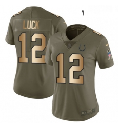 Womens Nike Indianapolis Colts 12 Andrew Luck Limited OliveGold 2017 Salute to Service NFL Jersey