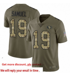 49ers 19 Deebo Samuel Olive Camo Men Stitched Football Limited 2017 Salute To Service Jersey