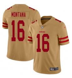 Nike 49ers 16 Joe Montana Gold Mens Stitched Football Limited Inverted Legend Jersey