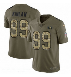 Nike 49ers 99 Javon Kinlaw Olive Camo Men Stitched NFL Limited 2017 Salute To Service Jersey