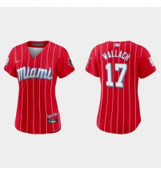 Miami Marlins 17 Chad Wallach Women Nike 2021 City Connect Authentic MLB Jersey Red