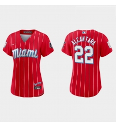 Miami Marlins 22 Sandy Alcantara Women Nike 2021 City Connect Authentic MLB Jersey Red
