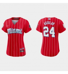 Miami Marlins 24 Jesus Aguilar Women Nike 2021 City Connect Authentic MLB Jersey Red