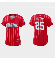 Miami Marlins 25 Al Leiter Women Nike 2021 City Connect Authentic MLB Jersey Red