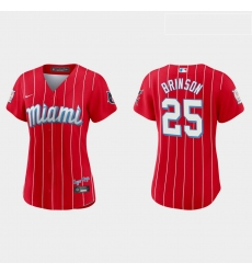 Miami Marlins 25 Lewis Brinson Women Nike 2021 City Connect Authentic MLB Jersey Red