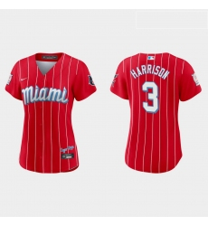 Miami Marlins 3 Monte Harrison Women Nike 2021 City Connect Authentic MLB Jersey Red