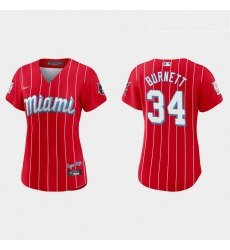 Miami Marlins 34 A J  Burnett Women Nike 2021 City Connect Authentic MLB Jersey Red