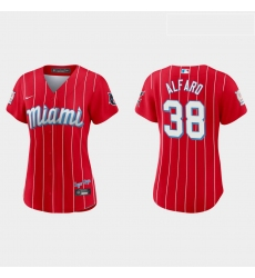 Miami Marlins 38 Jorge Alfaro Women Nike 2021 City Connect Authentic MLB Jersey Red