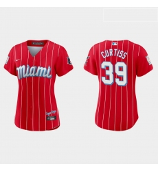 Miami Marlins 39 John Curtiss Women Nike 2021 City Connect Authentic MLB Jersey Red