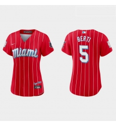 Miami Marlins 5 Jon Berti Women Nike 2021 City Connect Authentic MLB Jersey Red