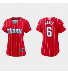 Miami Marlins 6 Starling Marte Women Nike 2021 City Connect Authentic MLB Jersey Red