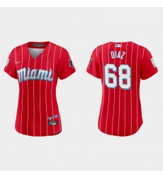 Miami Marlins 68 Lewin Diaz Women Nike 2021 City Connect Authentic MLB Jersey Red