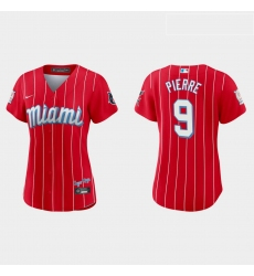 Miami Marlins 9 Juan Pierre Women Nike 2021 City Connect Authentic MLB Jersey Red