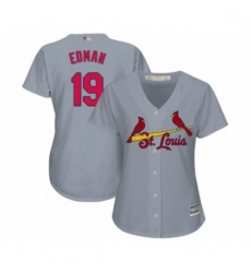 Women's St. Louis Cardinals #19 Tommy Edman Authentic Grey Road Cool Base Baseball Player Jersey