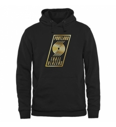 NBA Mens Portland Trail Blazers Gold Collection Pullover Hoodie Black